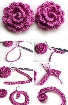 Easy Crochet Rose Flower Free Pattern in 9 Steps - Salvabrani Crochet Puff Flower, Crochet Flower Tutorial, Crochet Flower Patterns, Crochet Motif, Diy Crochet, Crochet Designs, Crochet Crafts, Crochet Flowers, Crochet Stitches
