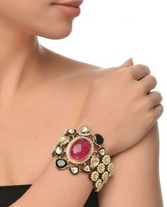 Pearl Bracelet with Black Onyx and Ruby stones #Jewelry #Fashion #New #Stones #Studded #Ethnic #Indian #Traditional