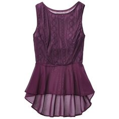 Mossimo Women's Sleeveless Lace Peplum Tank - Assorted Colors ($15) ❤ liked on Polyvore featuring tops, shirts, tank tops, blouses, purple tank, peplum shirt, peplum tops, sweater pullover and purple shirt