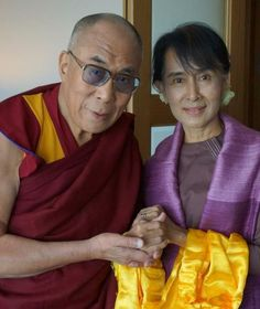 """Dalai Lama and Aung San Suu Kyi, together. #Heroes.  """"Wherever suffering is ignored, there will be the seeds of conflict, for suffering degrades, and embitters and enrages."""" -ASSK"""