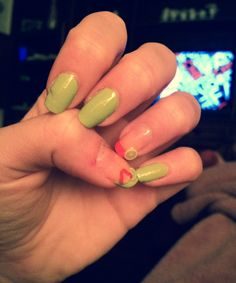 Fruit green&pink nail art