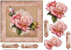 Rose and bee 7x7 card with decoupage by Angela Wake Rose and bee 7x7 card with decoupage and sentiment tags