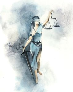 Lady Justice art print, watercolor print, watercolor painting art, blue giclee fine art print by Can Watercolor Print, Watercolor Paintings, Original Paintings, Painting Art, Abstract Paintings, Art Paintings, Landscape Paintings, Lady Justice, Law And Justice