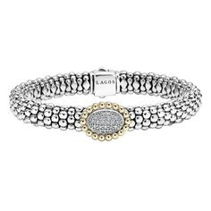 LAGOS 'Caviar' Diamond Bracelet featuring polyvore, women's fashion, jewelry, bracelets, beading jewelry, 18 karat gold jewelry, lagos, bead jewellery and 18k jewelry