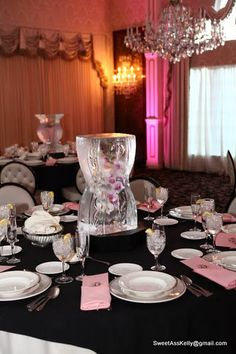 A few of the ice sculpture centerpieces as they were clearing up before the reception!
