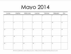 Calendarios 2014 simples para imprimir> Mayo #Calendario #Imprimir #Imprimible #Printable