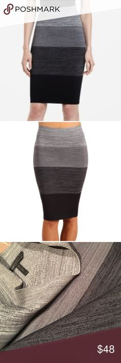 BCBGMAXAZRIA Scarlett ombre bandage bodycon XS Amazing power pencil BCBG skirt! Grey combo. Like new, worn one or twice only! Size XS. I have the same style skirt in a different color listed as well. Take advantage of bundle discounts:) BCBGMaxAzria Skirts Pencil