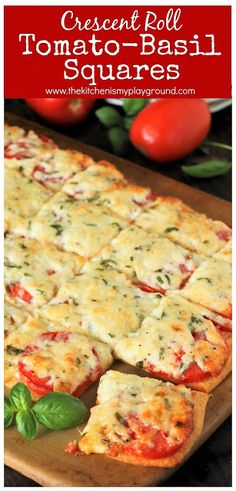 Crescent Roll Tomato-Basil Squares Crescent Roll Tomato-Basil Squares ~ Fresh tomatoes & basil slathered with melty cheese, and layered on a crescent roll crust. The perfect versatile savory little treat. Crescent Roll Recipes, Crescent Roll Pizza, Crescent Roll Appetizers, Pillsbury Crescent Recipes, Food Porn, Cooking Recipes, Healthy Recipes, Cooking Tips, Chef Recipes