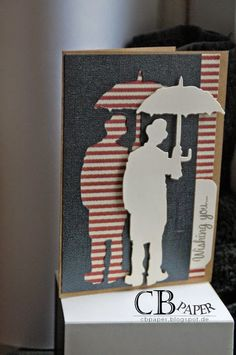 CB Paper - Independent Stampin demonstrator: # 8 The second Umbrella Man. Umbrella Cards, Umbrella Man, Tim Holtz Dies, Tim Holtz Stamps, Pop Up Cards, Cool Cards, Card Making Templates, Anna Griffin Cards, Masculine Cards