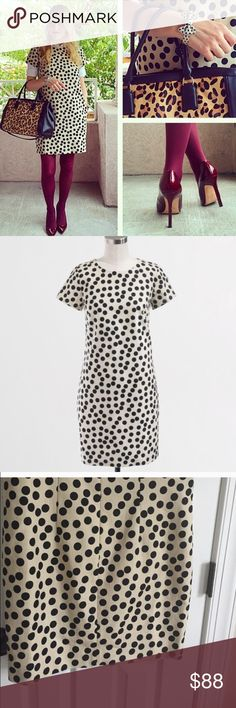{J.Crew} Optic Dot Dress ‼PRICE IS FIRM‼️ ‼NO OFFERS ACCEPTED‼️Like new with small defect please see last picture. Priced accordingly. PRICE FIRMNo trades no offers. From factory . Size 6. Cotton. Falls above knee. Back zip. Lined. Dry clean. Import. J. Crew Dresses