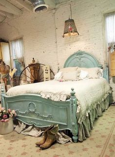 Gorgeous Pastel Blue Distressed Bedframe As A Centerpiece In This Comfy Shabby Chic Bedroom #PSTML #HomeDecor #BedroomIdeas