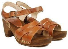 Bosabo woven clog with ankle strap. Love the rivets on the sides!