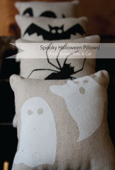 Halloween Pillows Spider / Bat / Ghost and Cat -- Spooky Set of 4 Halloween Projects, Halloween House, Holidays Halloween, Halloween Outfits, Spooky Halloween, Happy Halloween, Halloween Decorations, Halloween Party, Halloween Clothes