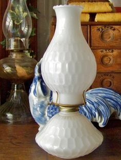 Milk Glass Honey Comb Oil Lamp by cynthiasattic on Etsy, $59.00
