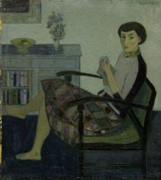 "huariqueje: "" Knitting Woman - 'Karel' Hendrik Wiggers Dutch, 1916-1989 Oil on board, 50,3 x 44,8 cm. """