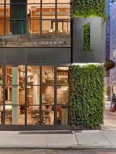 1 Hotel Central Park by AvroKO - signage - exterior design Storefront Signage, Hotel Signage, Park Signage, Wayfinding Signage, Signage Design, Facade Design, Architecture Design, Design Hotel, Restaurant Design