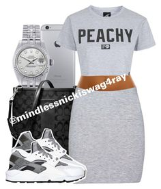 """""""Peachy Gray!"""" by mindlessnickiswag4ray ❤ liked on Polyvore featuring Rolex, Coach, Boohoo, Illustrated People, NIKE, women's clothing, women, female, woman and misses"""