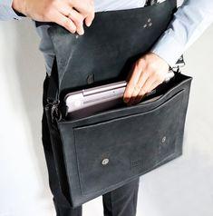 Laptop leather bag Mens briefcase Business bag Messenger bag | Etsy Brown Leather Messenger Bag, Leather Laptop Bag, Black Leather Backpack, Leather Purses, Leather Handbags, Thick Leather, Leather Cover, Briefcase For Men, Minimalist Wallet