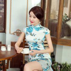 Short-length Silk Fabric Cheongsam Qipao Chinese dress Z0034 - iChinesedress.com