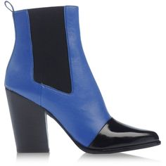 Kenzo Ankle Boots (245 BGN) ❤ liked on Polyvore featuring shoes, boots, ankle booties, bright blue, genuine leather boots, real leather boots, 2 tone boots, leather ankle boots and two-tone boots