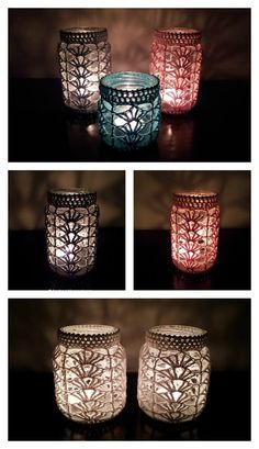 Crochet Pattern Light Mason Jar Cover Free Crochet Pattern - Mason Jar are perfectly versatile decorations. They look even better with crochet cozy, which can be made with Mason Jar Cover Free Crochet Patterns. Diy Tricot Crochet, Crochet Gratis, Cute Crochet, Beautiful Crochet, Pot Mason Diy, Mason Jar Crafts, Mason Jars, Crochet Jar Covers, Yarn Crafts