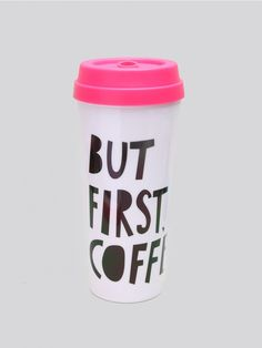 "BAN.DO Don't leave your hot beverages out in the cold! White thermal mug with everyone's inner thoughts: ""BUT FIRST, COFFEE."" It features a bright pick plastic lid with a open and close slider."