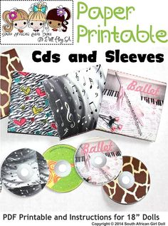 Print and make Cd's and CD Sleeves for your 18 inch Dolls cd sleev, print