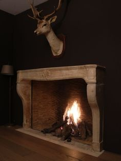 Cosy flame gas fires built-in inserts and fireplace surrounds: modern or classic, frameless closed combustion Home Fireplace, House Interior, Cow Skull Decor, Gas Fireplace, French House, Fireplace Mantels, Farmhouse Fireplace, Fireplace Surrounds, Reclaimed Fireplace