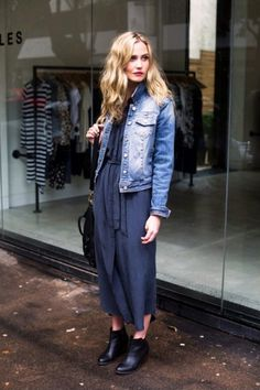 Anna Bamford // denim jacket, belted dress, oversized satchel & booties #style #fashion
