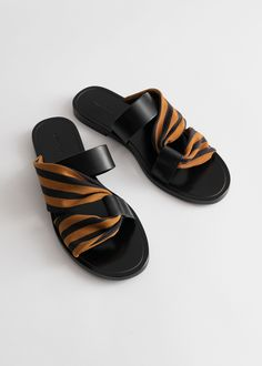 Draped Stripe Cross Leather Sandals - Black Orange Stripes - Flat sandals - & Other Stories Calf Leather, Leather Men, Flat Sandals, Shoes Sandals, Leather Sandals Flat, Slide Sandals, Gladiator Sandals, Summer Shoes, Designer Shoes