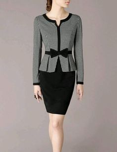 Winter Outfits Long Sleeve Dress Suits Elegant Patchwork Design Grey and Black Swallow Gird Pattern Vintage London FashionChecked blouse with black trimmings on collar, front & sleeves. A black ribbon in d front & a matching black skirtSuited Dress C Business Casual Outfits, Business Dresses, Classy Outfits, Business Attire, Business Formal, Suits For Women, Clothes For Women, Look Fashion, Womens Fashion