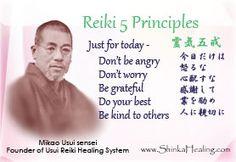 Master Mikao Usui - Reiki Five Principles (Reiki Gokai) with Japanese Reiki Treatment, Self Treatment, Angelic Reiki, Reiki Books, Usui Reiki, Reiki Principles, What Is Reiki, First Aid Treatment, Reiki Courses