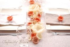 Coral Flower Wedding Decoration Long Centerpiece Fabric Floral Table Runner Wedding Reception Decoration