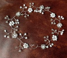 "Wedding Hair Vine Pearls Silver Tiara headband crown flower bridal 20"" £15.00"