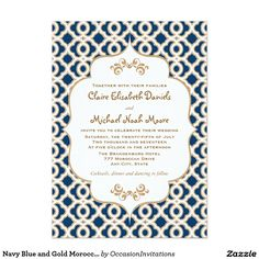 Custom Teal and Gold Moroccan Wedding Invitations created by OccasionInvitations. This invitation design is available on many paper types and is completely custom printed. Navy Wedding Invitations, Wedding Invitation Design, Bridal Shower Invitations, Invites, Wedding Koozies, Wedding Stationery, Motifs Islamiques, Moroccan Wedding, Moroccan Theme