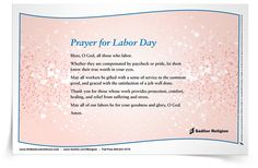 How do you express gratitude for those that labor on your behalf? Download a Prayer for Labor Day Prayer Card and share it in your parish or home.