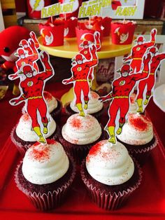 Cool cupcakes at a Flash birthday party! See more party ideas at CatchMyParty.com!
