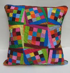 Tilting Squares Patchwork Pillow