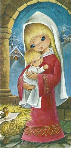 9197 - EDICIONES CYZ - SERIE 1509.54-A- DIPTICA - MIDE 10,5 X 22 CM APROX - ILUSTRA NUCO - Foto 1 Vintage Christmas Cards, Vintage Cards, Vintage Postcards, Vintage Pictures, Vintage Images, Cute Pictures, Holiday Images, Blessed Mother, A Christmas Story