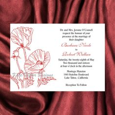 Elegant Floral Wedding Invitation - 5 x 7 - Shown in Shades of Coral Designed by…