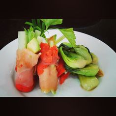 PWLR style smoked salmon sushi rolls with steamed bok choi