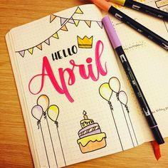 Hello April! Only 4 days late, but I'm finally catching up on my Bullet Journal. Now I wonder if anything special is happening this month... . . . #bujo #bujojunkie #bulletjournal #bulletjournaling #tombow #birthday #april #birthdaymonth