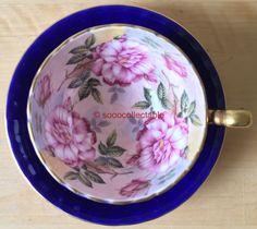 superb AYNSLEY porcelain PINK ROSES pattern 1031 BLUE GROUND CUP & SAUCER DUO   Pottery, Porcelain & Glass, Porcelain/China, Aynsley   eBay!