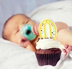 Take a Zero candle and cupcake into the hospital to celebrate your newborn's actual birth-day