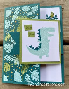 Stampin' Up! Dino Days projects and an ordering special from Lisa Brown, Stampin' Up! Boy Cards, Kids Cards, Craft Cards, Fancy Fold Cards, Folded Cards, Card Making Inspiration, Making Ideas, Dinosaur Cards, Kids Birthday Cards
