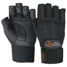 GF-100110 Fitness Gloves, Cowhide Leather with Spandex, Long Elastic Strap with Velcro Fastener.