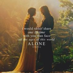 Luminous, honest words from Arwen to Aragorn in the garden of Rivendell - The Lord Of The Rings Lotr Quotes, Tolkien Quotes, Jrr Tolkien, Movie Quotes, Emo Quotes, Wife Quotes, Heart Quotes, Aragorn And Arwen, Legolas