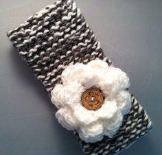 Hand knitted flower headband!