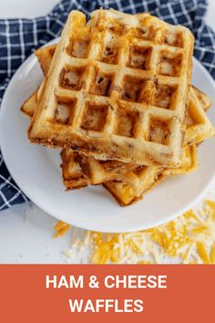 Ham and cheese are the perfect additions to make this savory waffle recipe crispy, irresistible, and the perfect meal for breakfast, lunch or dinner! Breakfast Waffle Recipes, Breakfast Waffles, Breakfast Dishes, Mexican Breakfast, Pancake Recipes, Brunch Dishes, Breakfast Sandwiches, Breakfast Ideas, Pancakes