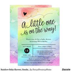 Rainbow Baby Shower  Gender Neutral Watercolor Card